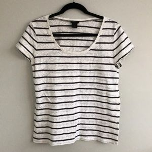 Ann Taylor Lace Stripped Tee Shirt